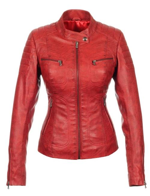 biker jas dames imitatieleer rood Miami Versano