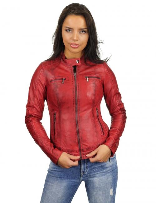 imitatie leren biker jas dames rood 346 Versano