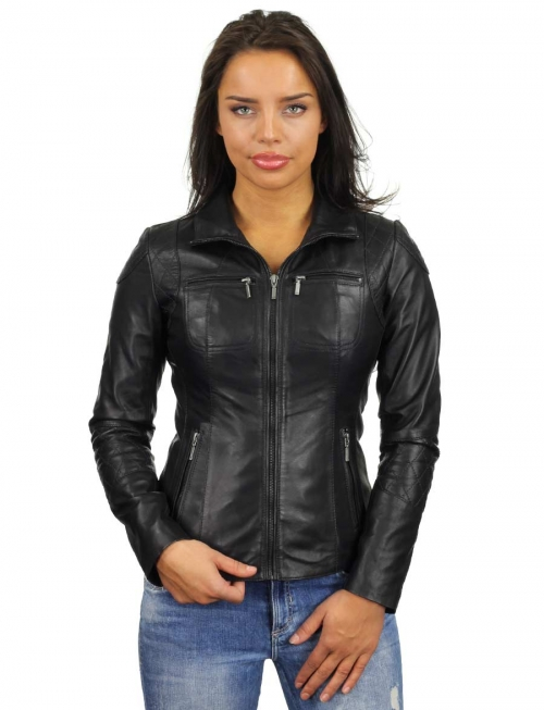 imitatie leren jas dames zwart 340 Versano