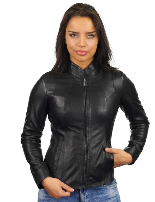 zwart-leren-jasje-dames-versano-301-model2