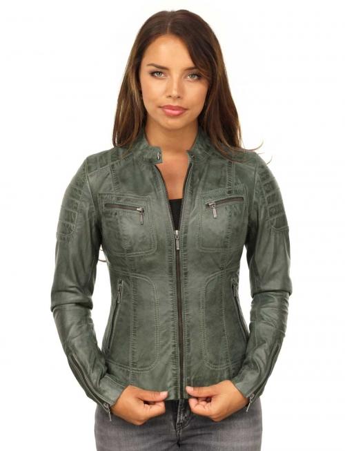 Imitatie leren dames jasje groen Miami Versano