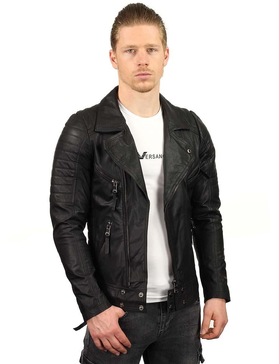 imitatie leren Biker jas heren zwart TR50 Versano