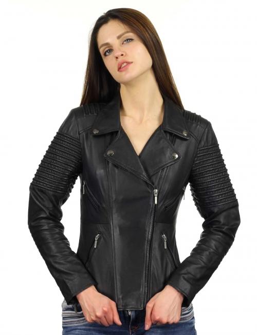 dames biker jas imitatie leer zwart 343 Versano