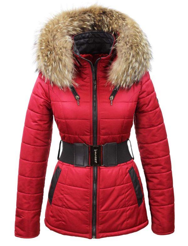 dames-winterjas-met-riem-rood-bontkraag-versano-karishma-voorkant