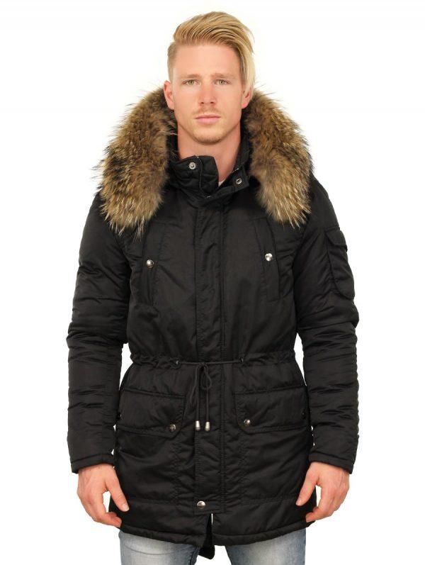 halflange-heren-winterjas-zwart-versano-voorkant