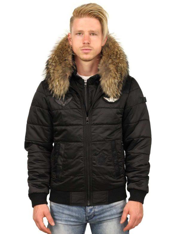 Heren winterjas bontkraag met badges Cobra Versano Zwart