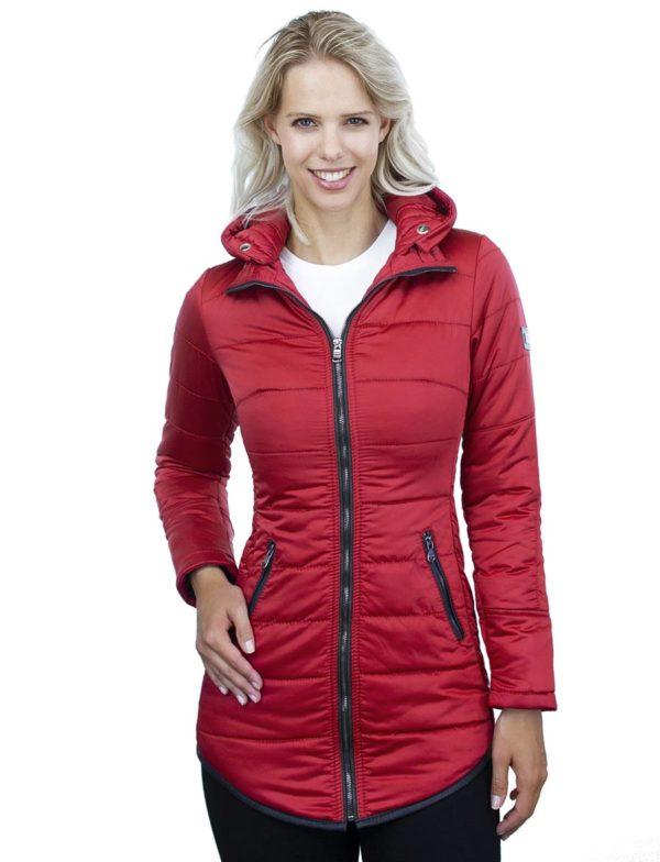 Halflange dames winterjas met bontkraag Jenny rood Versano