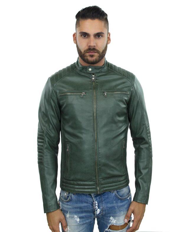 biker jas heren imitatieleer groen TRR 46 Versano