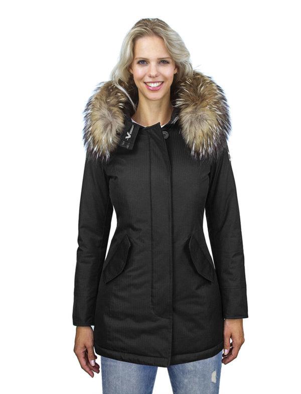 Herringbone-dames-winterjas-parka-zwart-met bontkraag-Rani