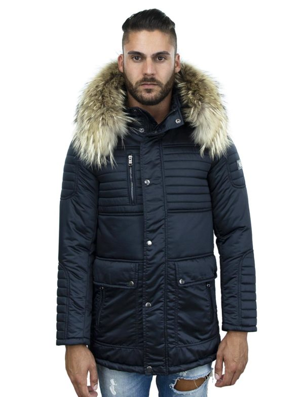 winterjas-heren-halflang-model-blauw-woolfer-versano-bontkraag