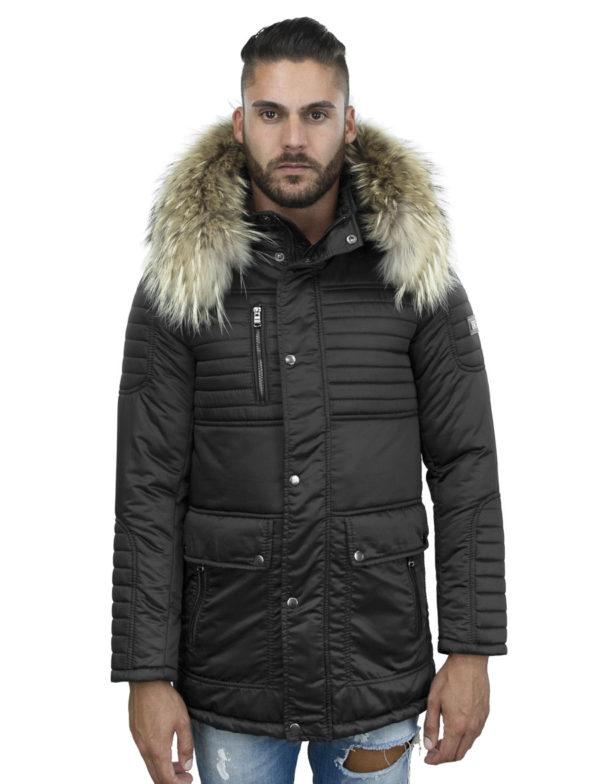 winterjas-heren-halflang-model-zwart-woolfer-versano-bontkraag