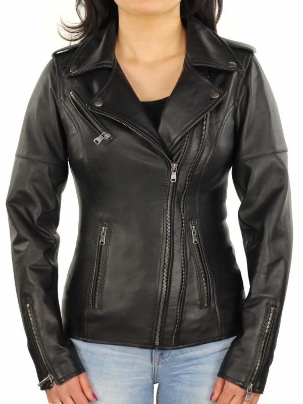 dames leren biker jas zwart Versano 345
