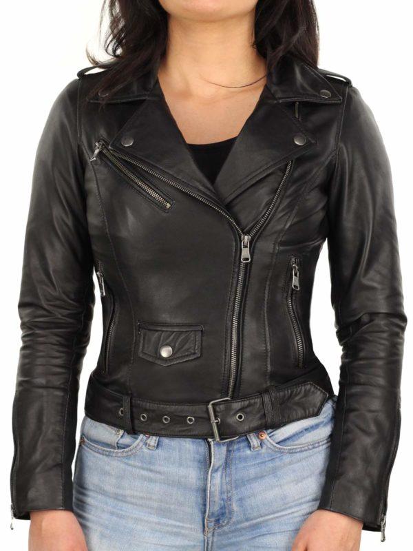 dames-biker-jack-zwart-met-riem-versano-350-voorkant