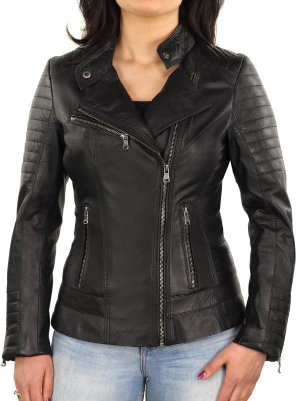 leren dames biker jas 311 N zwart Versano