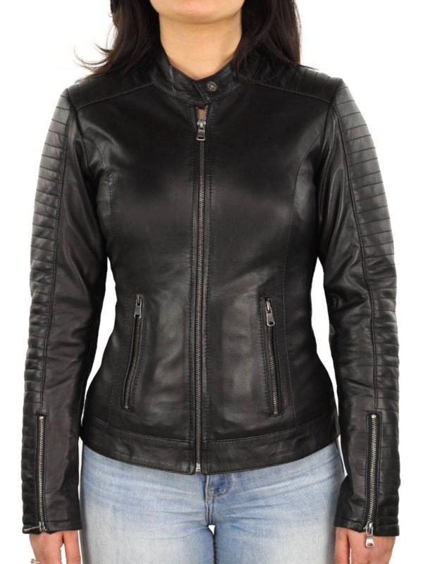 dames biker jas leer zwart Versano 341