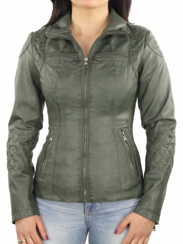 dames jasje imitatieleer groen 340 Versano