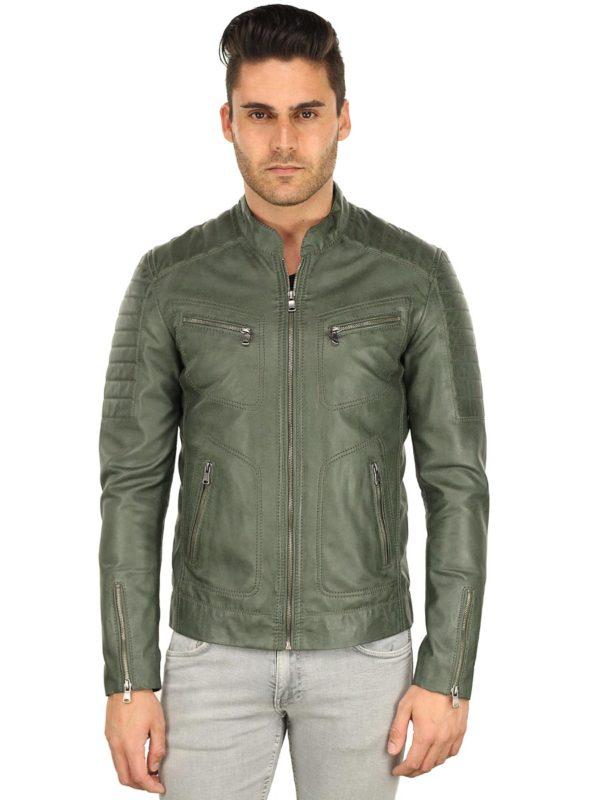 Imitatieleren heren jas biker groen TRR 36 B Versano