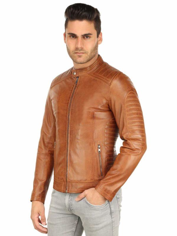 Lederen biker jas heren Versano TR57 Cognac