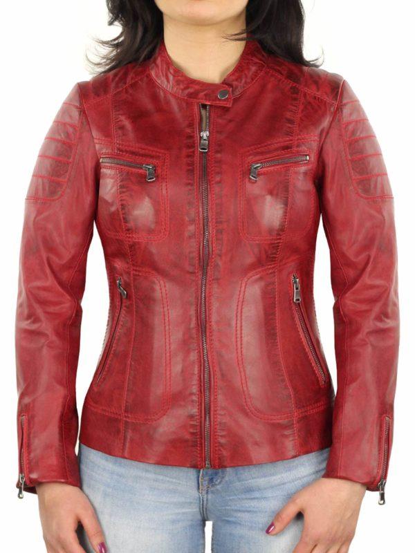 Leren dames biker jas Miami rood Versano