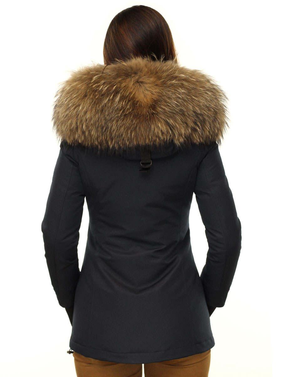 Blue 2 pocket parka ladies winter coat with fur collar Rani