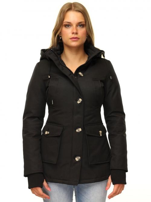 Dames parka jas met bontkraag Mary zwart Versano
