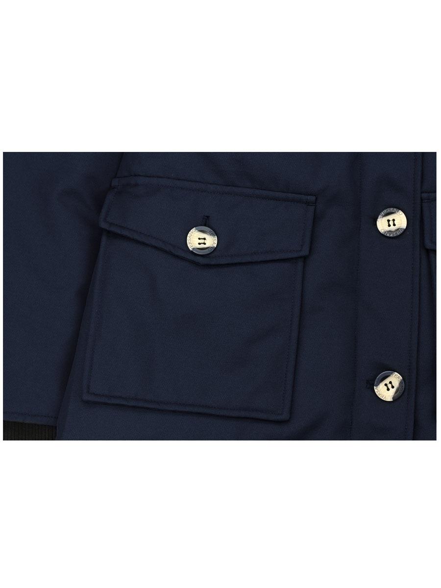 Parka ladies 2 pocket winter jacket blue with fur collar