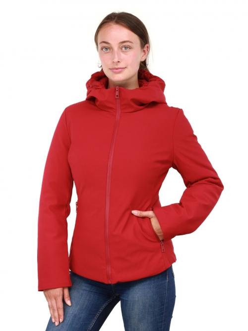 Dames winterjas kort met capuchon Sabrina rood Versano